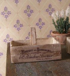 French wooden basket, Dollhouse miniatures, scale 1:12. Petit Brocante, 2011