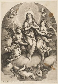 """Assumption of the Magdalene"" Attributed to Wenceslaus Hollar, Bohemian, 1607 - 1677. After Pieter van Avont, Flemish, 1600 - 1652. Geography: Made in Antwerp, Southern Netherlands (modern Belgium), Europe Date: Mid- 17th century Medium: Etching Dimensions: Sheet: 7 15/16 x 5 1/2 inches (20.2 x 14 cm) Philadelphia Museum of Art"
