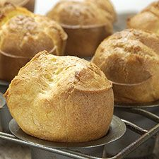 GF #Glutenfree: These popovers are crisp on the outside, nicely moist within. Their crowned tops leave lots of room for melting butter and jam. So easy to make, you don't even need to use a mixer. ☀CQ #glutenfree  #recipes