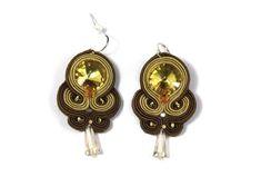 Chandelier Earrings – GOLDEN BROWN Soutache earrings – a unique product by betulek on DaWanda