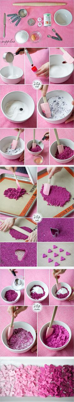 DIY sugar hearts. Too cute and must try this.
