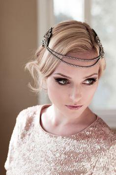 Art Deco Bridal Headpiece with Vintage Black Silver Rhinestone Halo, Seed Bead Leaf Headdress, Bridal Hair Comb Style: Florence #1406 on Etsy, $329.00