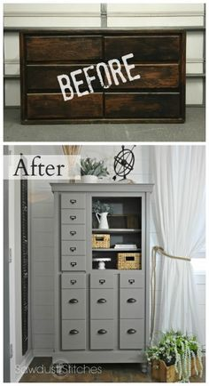 See how you can turn a dated dresser into mini-mudroom, complete with coat and shoe storage! By Sawdust 2 Stitches