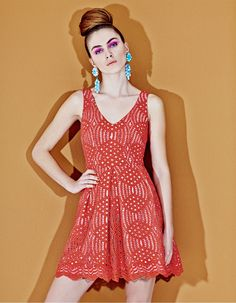 70s seventies style, coral lace round dress Seventies Fashion, 70s Fashion,  Fashion Outfits c1b5d97533e