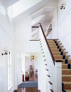 4 Dumbfounding Cool Tips: Wainscoting Stairs Plank Walls wainscoting foyer stairways. Beadboard Wainscoting, Wainscoting Styles, Dining Room Wainscoting, Architectural Digest, Entry Stairs, Entry Foyer, Victoria Hagan, Nantucket Style, Stairs