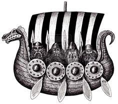 Vikings in Drekar black and white pen ink drawing by ~Vitogoni on deviantART