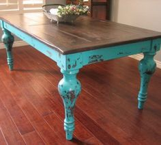 refinished kitchen table love this colorbut do top in chalkboard paint (different color)