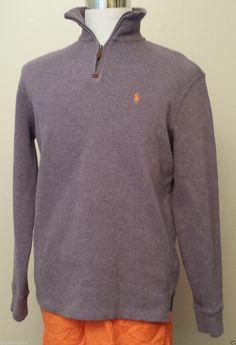 #POLO Ralph Lauren men size M 1/2 zip cotton sweater violet color RalphLauren visit our ebay store at  http://stores.ebay.com/esquirestore