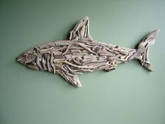 Natural Driftwood Shark - Reserved for 'Charmed' Culligan Culligan Hichens Duskocy .Sooooo making one for Nick's room! Driftwood Fish, Driftwood Sculpture, Shark Room, Shark Art, Driftwood Projects, Beach Crafts, Ocean Crafts, Fish Art, Beach Art