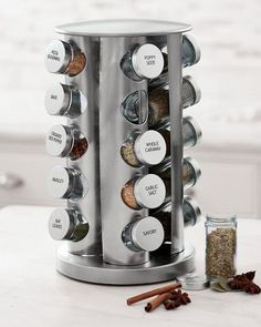 9 Piece MasterClass Herb and Spice Rack Set with 8 Brass Finish Lidded Jars and Gift Box Black Effect