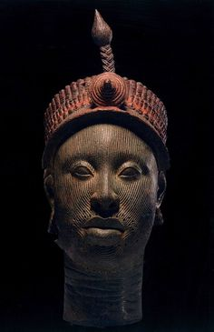 Crowned Head (12th-14th century) copper alloy    Yoruba Sculpture, West Africa