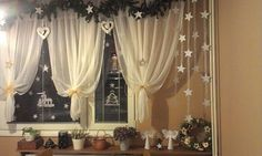 Christmas Window Decorations, Curtains, Wallpaper, Handmade, Easter, Diy, Home Decor, Christmas Crafts, Christmas Ornaments