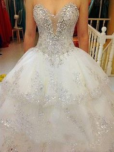 charming Tulle Ball strapless wedding luxury appliques