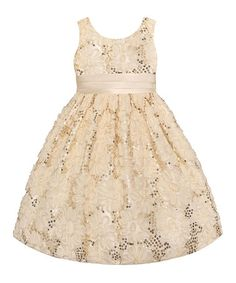 Look what I found on #zulily! Candlelight Sequin Floral Dress - Toddler, Girls & Girls' Plus #zulilyfinds