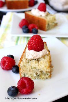 Lemon Basil Cake ~ vanilla cake mix with basil and lemon zest added