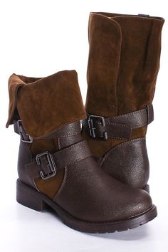 BROWN FAUX LEATHER AND SUEDE FOLD OVER BUCKLE STRAP BOOTS $15.99