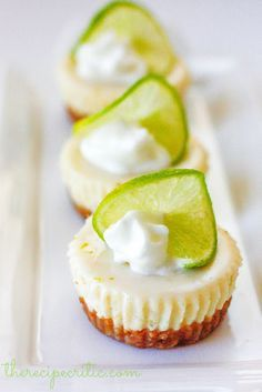 Mini Key Lime Pie |  have been CRAVING key lime pie.  Since being home I have been searching for a good recipe that would cure my craving for it.  Since I like things in mini individual sizes, I thought that I would create them just like my mini cheesecakes.  I was shocked at how delicious and close these tasted to the key lime pie in Florida. | From: therecipecritic.com