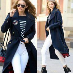 Não poderia faltar a linda e inspiradora Gigi Hadid! Numa das mais belas combinações navy que eu já vi!❤ Incrível! O look é perfeito! Harmoniza com a silhueta e realça tudo de belo que ela tem. #creative #fashion #style #navy #glamourous #gigihadid