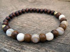Mens tribal surfer bracelet, bone, wood and stone beads, upcycled stretch… Surfer Bracelets, Gemstone Bracelets, Bracelets For Men, Jewelry Bracelets, Jewelery, Beaded Jewelry, Handmade Jewelry, Stretch Bracelets, Jewelry Design