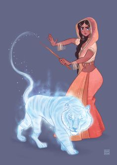"""ranranimation: """"Parvati Patil with her bengal tiger patronus """"<- schist! I thought that was a Disney/Harry Potter crossover with Jasmine Fanart Harry Potter, Harry Potter Love, Harry Potter Characters, Harry Potter Fandom, Harry Potter Universal, Harry Potter World, Character Inspiration, Character Art, Disney Hogwarts"""