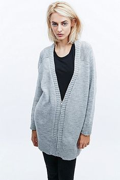 Silence + Noise Panelled Cardigan in Grey - Urban Outfitters