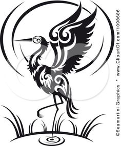 Google Image Result for http://images.clipartof.com/small/1098686-Clipart-Black-And-White-Wading-Tribal-Crane-Flapping-Its-Wings-Royalty-Free-Vector-Illustration.jpg