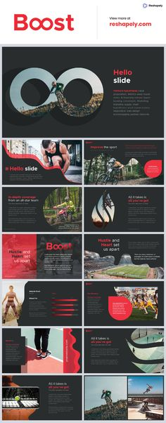 Boost is our second sport-oriented template but can be used for any type of presentation. This unique template gives you many possibilities of creativity. All shapes, elements, icons are vector editable and easy to change size and colors. Powerpoint Design Templates, Creative Powerpoint, Keynote Template, Flyer Template, Web Design, Slide Design, Graphic Design, Presentation Layout, Presentation Slides