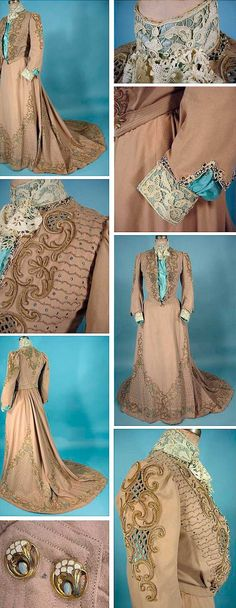 Tea gown, ca. 1903. Wool flannel with chenille soutache embroidery, high lace collar and cuffs, gold-color enamel buttons. Turquoise silk  lining was added later. AntiqueDress.com