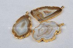Onyx Druzy Slice Pendant Gold Plated Druzy Pendant by Druzyworld