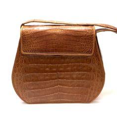 DONNA KARAN Vintage Tan Caiman Crocodile Skin Small Cross-Body Bag Purse