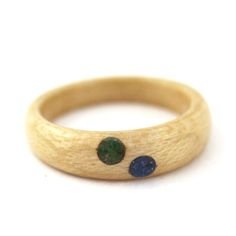 Birch Wood Ring with Tanzanite and Lapis Inlay Dots