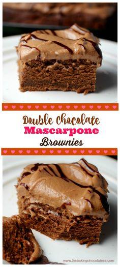 Double Chocolate Mascarpone Brownies via @https://www.pinterest.com/BaknChocolaTess/
