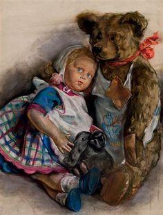 The Popoffs' doll, teddy bear and toy elephant - Zinaida Serebriakova