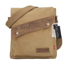 Messenger Bags, P.KU.VDSL Vintage Canvas Genuine Leather Messenger Bag, Small Shoulder Bag, Crossbody Sling Bag Traveling Briefcase iPad Bags For Men