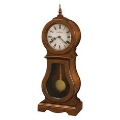 The Howard Miller Cleo Mantel Clock is a traditional wooden sofa table clock that looks like a relic from a simpler time. Features an antiqued pendulum and classic chimes to complement the look. Wooden Mantel, Wooden Sofa, Howard Miller, Foto Blog, Mantel Clocks, Wall Clocks, Wood Sticks, Grandfather Clock, Brown Wood