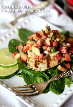Grilled Lime Chicken with Strawberry Avocado Salsa.. perfect summer meal! Low Carb and FULL of flavor!