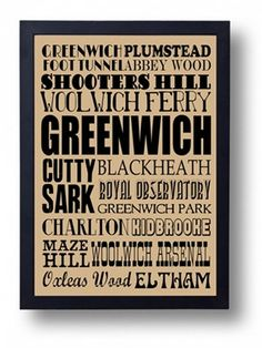 London Borough Of Greenwich    291 x 414mm print    This celebration of the landmarks, attractions and neighbourhoods of Greenwich, South London