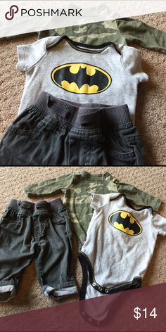 Camo onsie, batman onsie and gray pants Old navy green camo long sleeve onsie with snaps at collar, dc comics batman onsie and cherokee gray pants with drawstring. Great condition! Batman Matching Sets