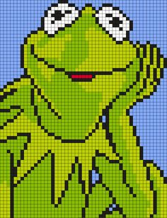 Kermit The Frog From The Muppets (Square) Perler Bead Pattern / Bead Sprite