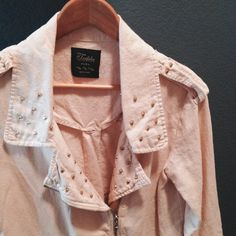 """linen studded moto jacket Worn twice. Good Condition; minimal signs of wear/wash. Also it has that slightly worn out look to it when I received this but doesn't look bad. Size S, it has that oversized look, so it can fit a size M. Bust- approx. 19.5"""" across, Length- approx. 26"""". Light pink or blush in color. Not Modeling. No Hold. No Trades. No PayPal. Price is Firm. Zara Jackets & Coats"""