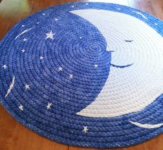 """56"""" SALE 15% oFF diameter blue moon braided rug created from t shirts"""
