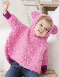 Free Knitting Pattern for Playful Hooded Poncho - Garter stitch hoodie for babies and toddlers with cute bear ears for fun. Sizes 6 months to 24 months. Designed by Jodi Lewanda