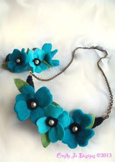 Beautiful Teal felt flower jewellery set - Crafty Jo Designs