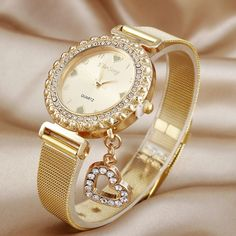 KIMSENG Luxury Created Diamond Gold Watches Ladies Fashion Heart Pendant Stainless Steel Quartz Watch Reloj Mujer Dorado Casual Source by Gold Watches Women, Trendy Watches, Elegant Watches, Beautiful Watches, Watches For Men, Patek Philippe, Hand Watch, Watch Brands, Fashion Watches