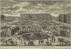 """View of the garden facade from the Basin de Latone"" by Adam Perelle. Chateau de Versailles, France."