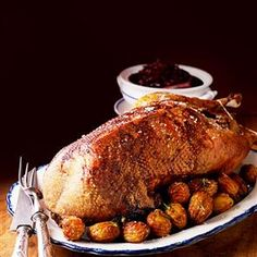 Roast goose stuffed with apples and prunes