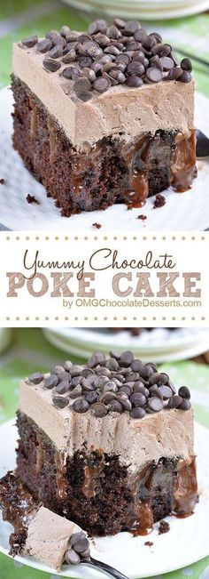 Chocolate Poke Cake is quadruple chocolate treat-rich chocolate cake infused with delicious mixture of melted chocolate and sweetened condensed milk. The post Chocolate Poke Cake appeared first on Win Dessert. Brownie Desserts, Just Desserts, Delicious Desserts, Delicious Chocolate, Divine Chocolate, Amazing Dessert Recipes, Awesome Desserts, Chocolate Heaven, Baking Desserts