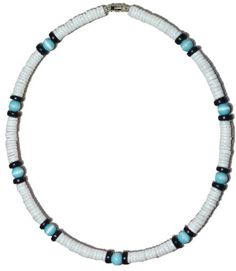 "Native Treasure - Puka Shell Necklace Blue Cat Eyes Hawaiian Surfer Choker Puca Beads Pooka - 8mm (5/16) - 18 Inch by Native Treasure. $18.95. This Native Treasure Authentic Tropical Jewelry Puka Shell Necklace is Beautifully Hand-crafted in our Tropical Jewelry Shop by our own Native Island Artisans using 8mm (5/16"") Hand-Sorted Class 'A' Quality All White Shells, With Black Coco Beads,  and 8mm Glass Cat Eye Beads.   .....It is our Standard 18"" Length and is ideal for..."