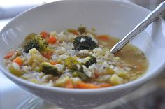 Winter vegetable rice soup