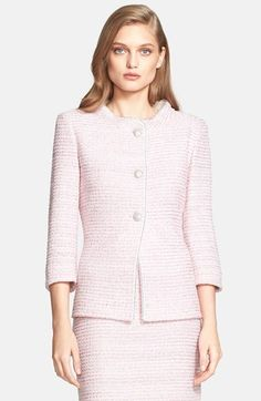 St. John Collection Nehru Collar Micro Tweed Knit Jacket with Chain Trim available at #Nordstrom